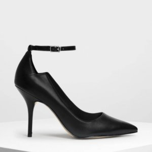 Charles and Keith ankle strap pointed pumps