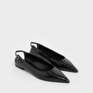 Charles and Keith Black croc effect leather ballet pumps