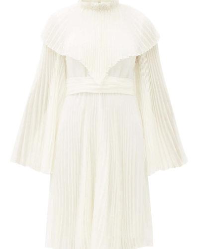 Giambattista Valli pleated silk chiffon dress ivory sale