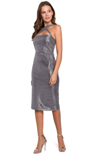 Silver Body-con Evening Dress