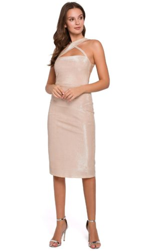 Beige Bodycon Evening Dress