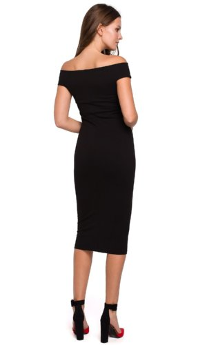Black Bodycon Off Shoulder Dress  with boat neckline
