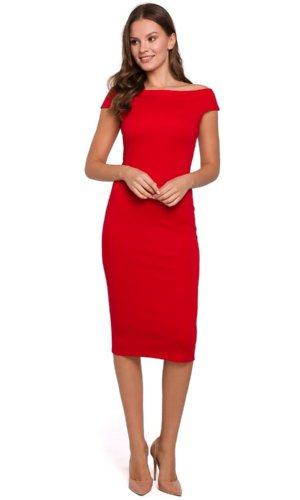 Red Bodycon Off Shoulder Dress