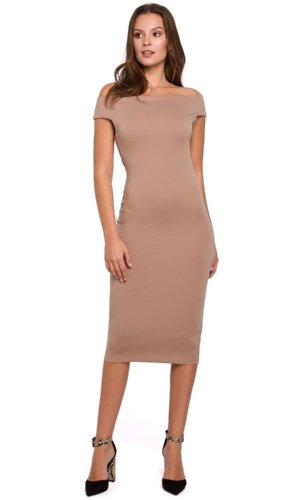 Beige Bodycon Off Shoulder Dress
