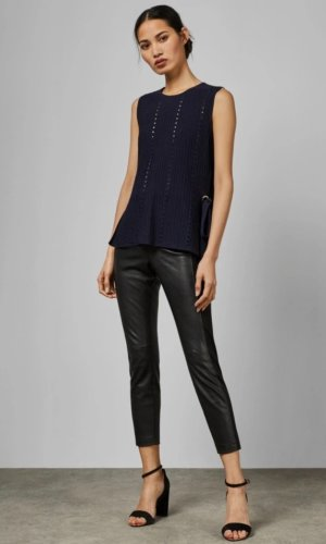 Eyelet Detail Knitted Vest Top. Tie up your look with the versatile JEHSII top