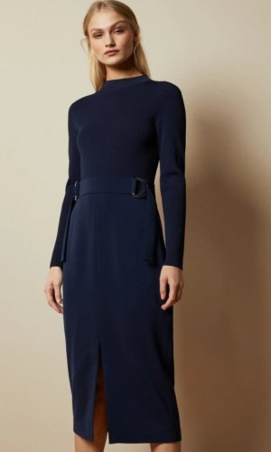 ELLHAD Knitted mockable D-ring dress £179