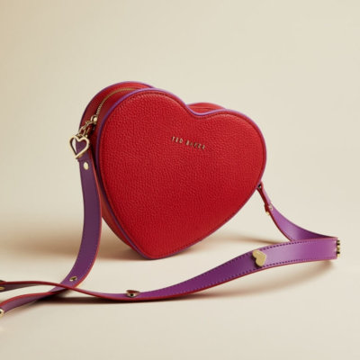 Ted Baker Red heart shapped leather cross body bag