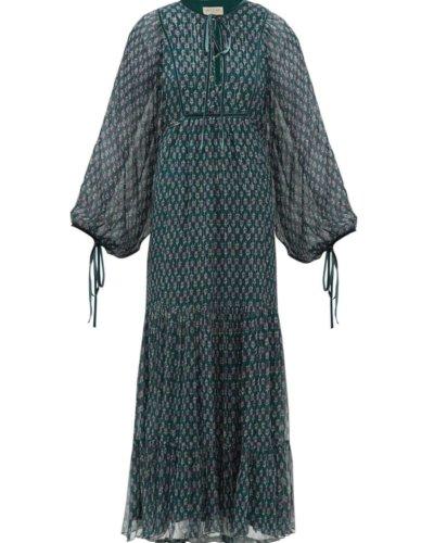 Matches Fashion BEULAH Indira balloon-sleeve floral-print midi dress
