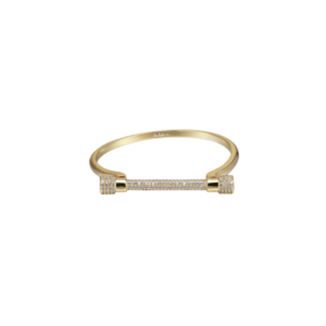 Opes Robur Paved Gold D Cuff Bracelet