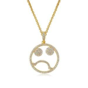 Opes Robur sad face silver necklace