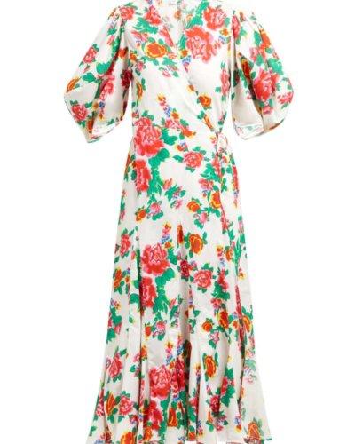 Rhode Fiona Floral Print Cotton Wrap Dress |