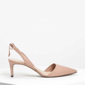 charles and keith nude tie back slingback heels