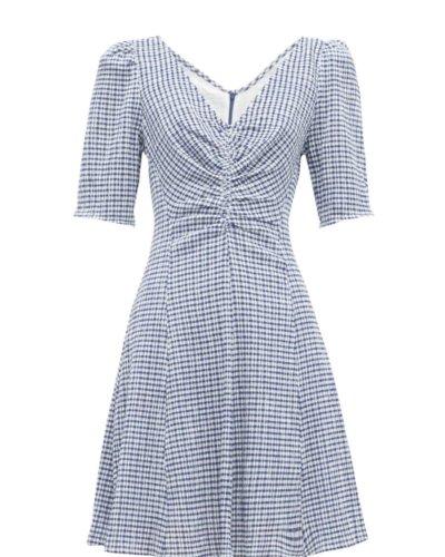 Staud Gingham Seersucker Mini Dress
