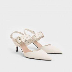 studded slingback heels cream Charles and Keith