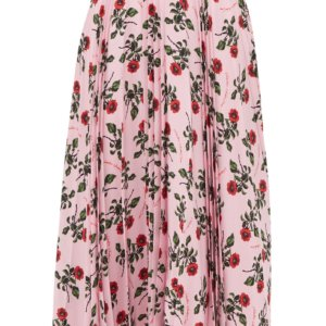 valentino rose printed pleated silk midi skirt