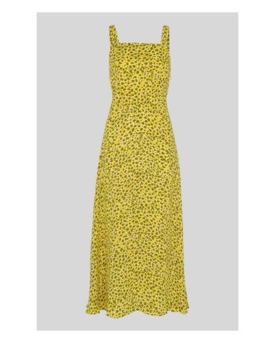 Whistles Llora Clouded Leopard Dress Yellow