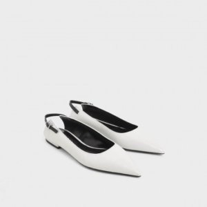 Charles and Keith white ballet croc pumps
