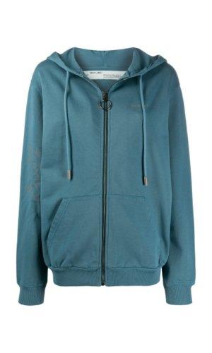 OFF-WHITE zip-up cotton hoodie
