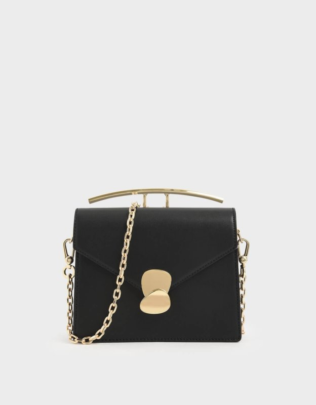 Charles and Keith black handle bag