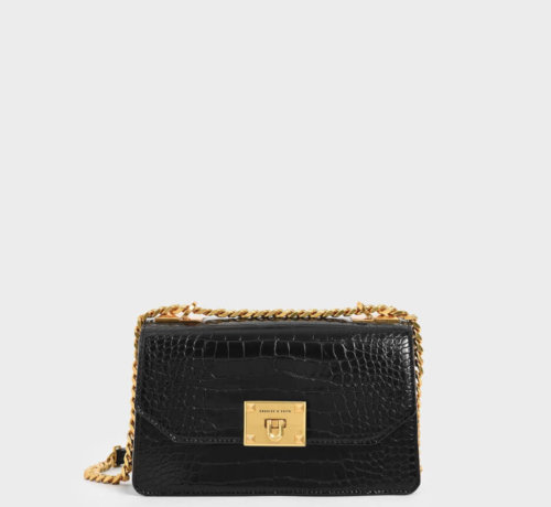 Charles and Keith croc bag valentines day outfit black
