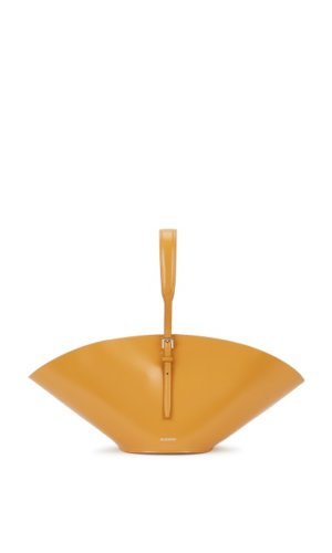 Sombrero Small Mustard Leather Tote. Jil Sander mustard leather tote Adjustable top handle, curved design, designer stamp, detachable sand drawstring pouch lining Hook fastening at top Comes with a dust bag Width: 1: 17 inches/ 44cm; 2: 5.5 inches/ 14cm  Height: 7 inches/ 18cm Depth: 6 inches/ 15cm Max. top handle drop: 8 inches/ 20cm Min. top handle drop: 5 inches/ 12.5cm  SKU No.: SC376174 Style No.: 790535