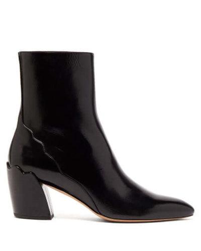 Chloé - Lauren Leather Ankle Boots - Womens - Black
