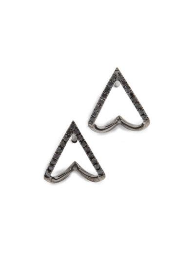 AW20 LFW EF Collection 14k Black Diamond Chevron Huggie Stud Earrings