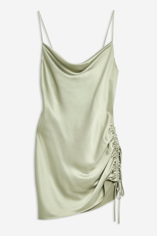 topshop valentines day outfit satin khaki mini dress