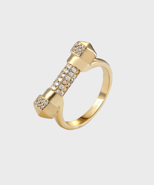 opes robber pave gold cuff ring