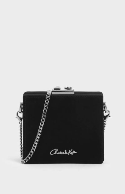 Charles and Keith valentines day suede black clutch bag