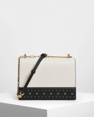 Charles and Keith black and white crossbody bag valentines day