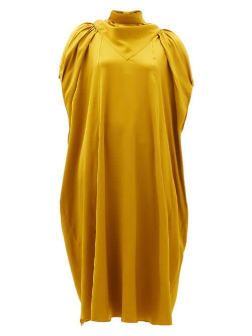 sustainable fashion stone apex midi dress gold