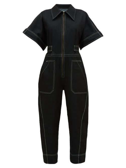 SUSTINABLE FASHION Ssone - Contrast-stitch Denim Jumpsuit - Womens - Black
