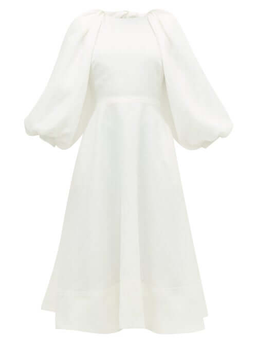 sustainable fashion Ssone - Cut-out Balloon-sleeve Hemp Midi Dress - Womens - Ivory sustainable fashion