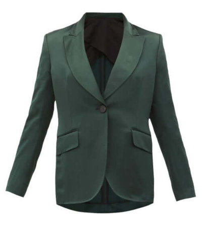 sustainable fashion Ssone - Metta Single-breasted Satin Jacket - Womens - Emerald