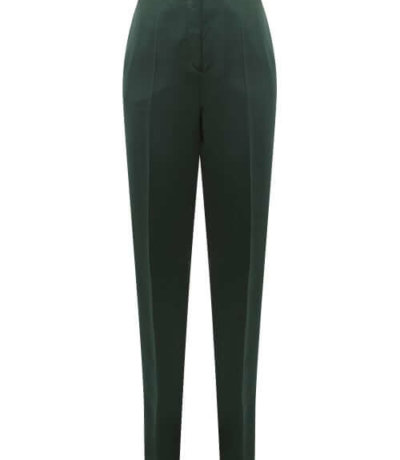 sustainable fashion Ssone - Metta Skinny-leg Side-striped Satin Trousers - Womens - Emerald
