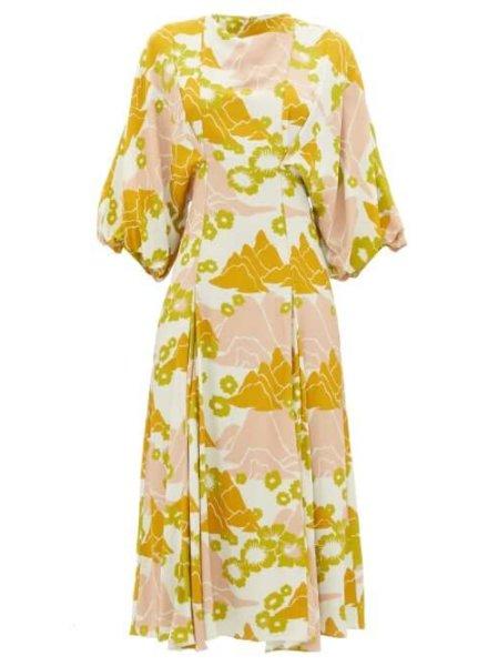 sustainable fashion Ssone - Mountain Balloon-sleeve Floral-print Midi Dress - Womens