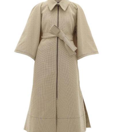 sustainable fashion Ssone - Resistance Cape-back Jacquard Coat - Womens - Beige