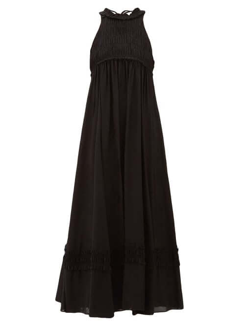 sustainable fashion Ssone - Valley Ruffled Check-jacquard Midi Dress - Womens - Black