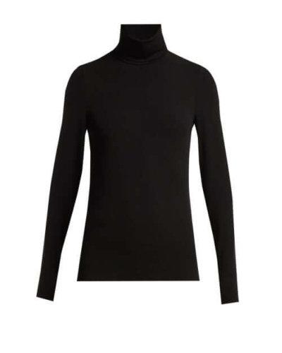 LFW 2020 Wolford - Aurora Roll-neck Jersey Top - Womens - Black