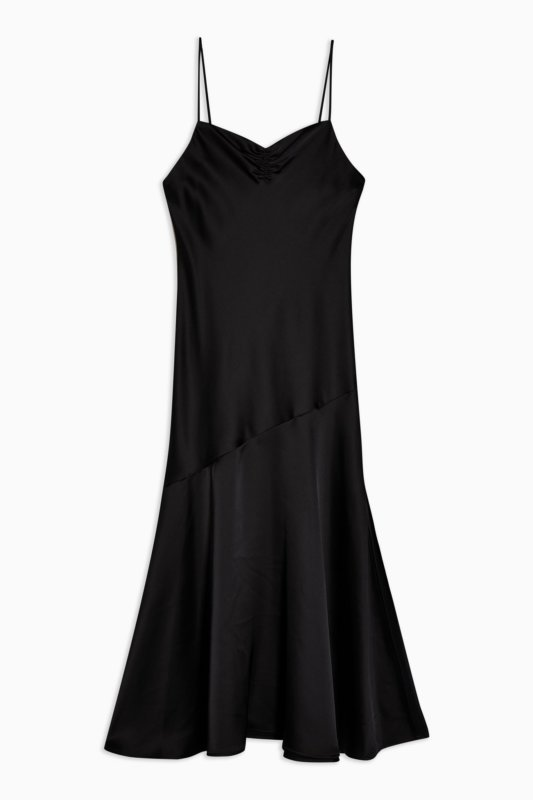 topshop black satin slip dress