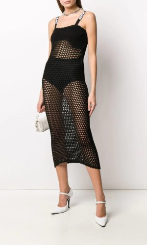 Off-White open knit sleeveless dress - Black