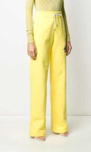 Off-White tropical logo-print track trousers - Yellow