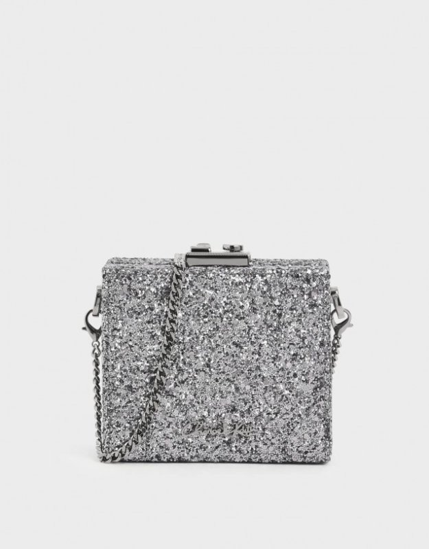 Charles and Keith Valentines day outfit glitter square clutch
