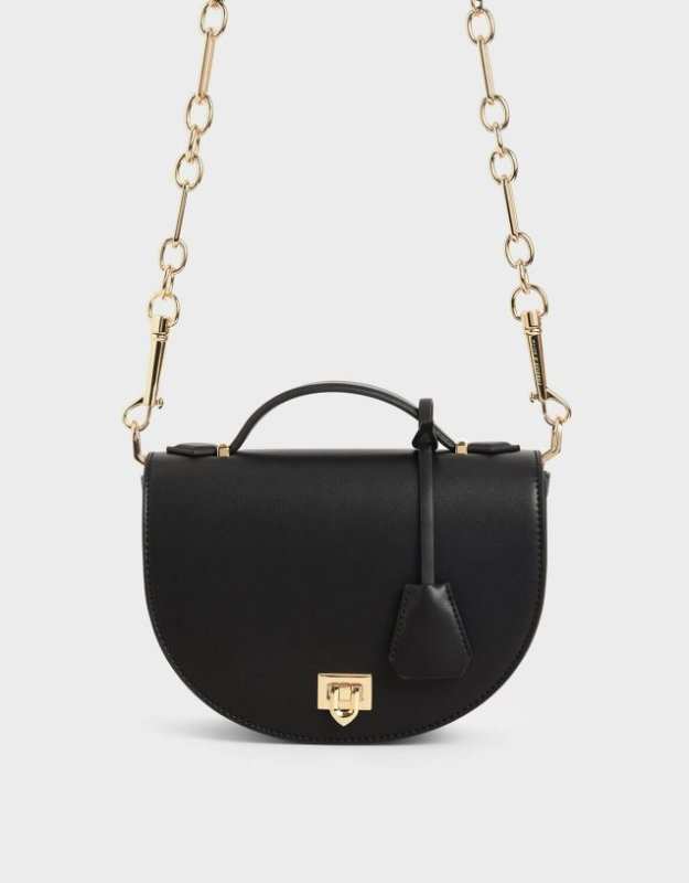 Charles and Keith valentines day outfit black saddle handle bag