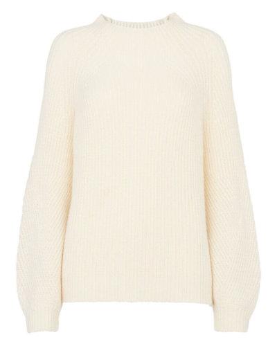 whistles chunky rib blouson knit white