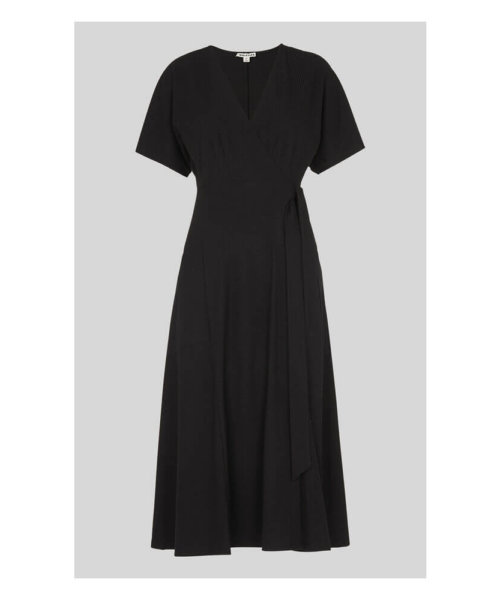 whistles wrap tie dress black