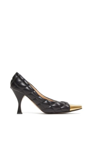 Bottega Veneta - Square Toe Cap Quilted-leather Pumps - Womens - Black