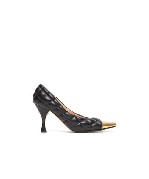 Bottega Veneta - Square Toe Cap Quilted-leather Pumps - Womens - Black