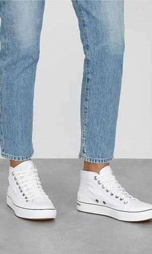 White canvas hi-top sneakers